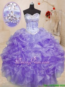 Classical Ball Gowns 15th Birthday Dress Lavender Sweetheart Organza Sleeveless Floor Length Lace Up