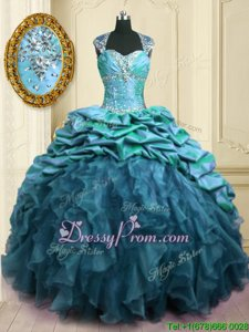 Fantastic Sweetheart Cap Sleeves Brush Train Lace Up Ball Gown Prom Dress Teal Organza and Taffeta