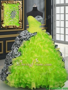 Vintage Sweetheart Sleeveless Ball Gown Prom Dress With Brush Train Beading and Ruffles and Pattern Multi-color Organza and Printed