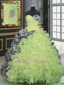 Smart Multi-color Organza and Printed Lace Up Sweet 16 Quinceanera Dress Sleeveless With Brush Train Beading and Ruffles and Pattern