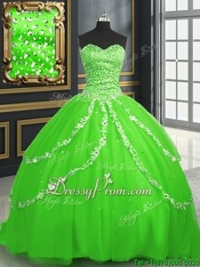 High Quality Spring Green Sweetheart Neckline Beading and Appliques Quinceanera Gowns Sleeveless Lace Up
