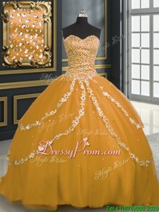 High End Tulle Sweetheart Sleeveless Brush Train Lace Up Beading and Appliques Quince Ball Gowns inGold