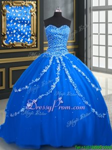 Sleeveless Tulle With Brush Train Lace Up Quinceanera Gowns inBlue forSpring and Summer and Fall and Winter withBeading and Appliques