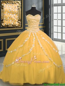 Attractive Sweetheart Sleeveless Brush Train Lace Up Quinceanera Dresses Gold Tulle