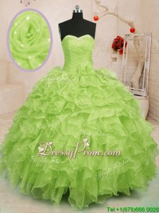 Flare Yellow Green Organza Lace Up Sweet 16 Quinceanera Dress Sleeveless Floor Length Beading and Ruffles and Hand Made Flower