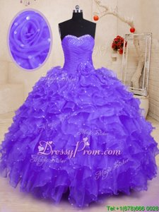 Charming Sleeveless Lace Up Floor Length Beading and Ruffles and Hand Made Flower Sweet 16 Dresses