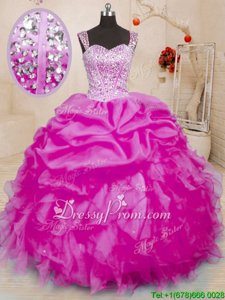 Fuchsia Sleeveless Beading and Ruffles and Pick Ups Floor Length Quinceanera Gown