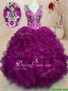 Fuchsia Backless Quinceanera Gowns Beading and Embroidery and Ruffles Sleeveless Floor Length