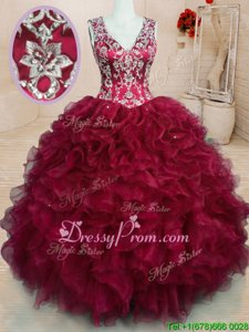 Unique Organza V-neck Sleeveless Zipper Beading and Embroidery and Ruffles Quinceanera Gowns inWine Red