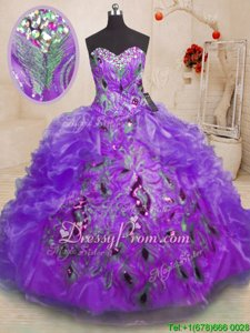 Glorious Spring and Summer and Fall and Winter Organza Sleeveless Floor Length Quinceanera Dresses andBeading and Appliques and Ruffles