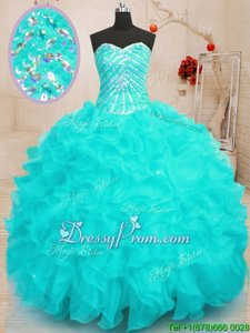 Custom Made Sleeveless Lace Up Floor Length Beading and Ruffles and Sequins Quinceanera Dresses