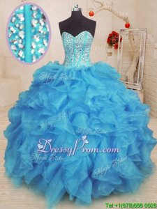 Beautiful Ball Gowns Ball Gown Prom Dress Baby Blue Sweetheart Organza Sleeveless Floor Length Lace Up