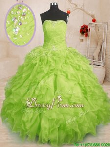 Customized Yellow Green Sleeveless Organza Lace Up Quinceanera Dress forMilitary Ball and Sweet 16 and Quinceanera