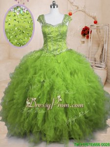 Sophisticated Yellow Green Tulle Lace Up Square Short Sleeves Floor Length 15 Quinceanera Dress Beading and Ruffles