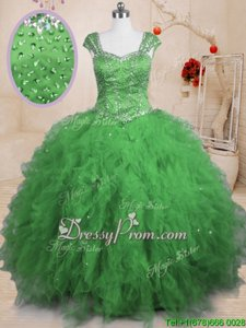 Fashion Floor Length Spring Green Vestidos de Quinceanera Square Cap Sleeves Lace Up