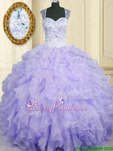 Superior Ball Gowns Vestidos de Quinceanera Lavender Straps Organza Sleeveless Floor Length Lace Up