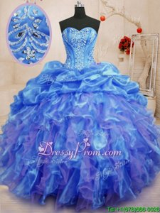 Super Blue Sweetheart Lace Up Beading and Ruffles Vestidos de Quinceanera Sleeveless