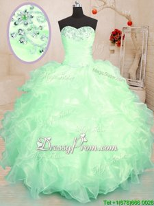 Perfect Spring Green Organza Lace Up Sweet 16 Quinceanera Dress Sleeveless Floor Length Beading and Ruffles