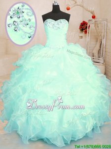 Fine Sleeveless Floor Length Beading and Ruffles Lace Up Sweet 16 Dress with Turquoise and Apple Green