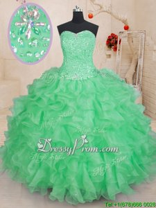 Exceptional Green Ball Gowns Beading and Ruffles Quinceanera Gowns Lace Up Organza Sleeveless Floor Length