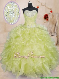 Popular Yellow Green Sweetheart Lace Up Beading and Ruffles Ball Gown Prom Dress Sleeveless