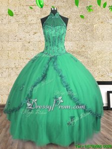 Wonderful Tulle Halter Top Sleeveless Lace Up Beading 15 Quinceanera Dress inTurquoise