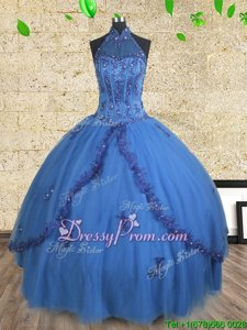 Free and Easy Sleeveless Tulle Floor Length Lace Up Quinceanera Gown inBlue forSpring and Summer and Fall and Winter withBeading