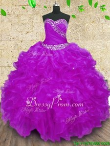 Fitting Purple Ball Gowns Organza Halter Top Sleeveless Beading and Ruffles and Ruching Floor Length Lace Up Quinceanera Gown
