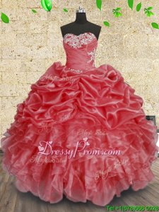 Amazing Sweetheart Sleeveless Lace Up Sweet 16 Dress Coral Red Organza