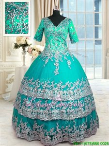 Beautiful Turquoise Zipper Ball Gown Prom Dress Beading and Lace and Appliques and Ruffled Layers Half Sleeves Floor Length