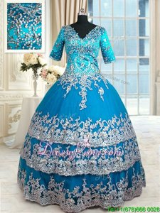 Captivating Spring and Summer and Fall and Winter Tulle Half Sleeves Floor Length Quinceanera Dresses andBeading and Lace and Appliques and Ruffled Layers