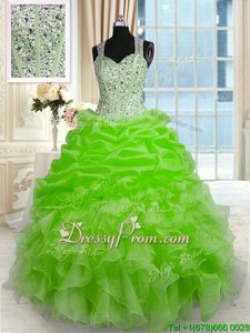Spring Green Straps Neckline Beading Sweet 16 Quinceanera Dress Sleeveless Zipper
