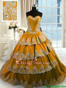 Fantastic Gold Sleeveless With Train Beading and Appliques and Ruffled Layers Lace Up Sweet 16 Quinceanera Dress