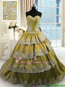 Sumptuous Satin Sweetheart Sleeveless Lace Up Beading and Appliques and Ruffled Layers Sweet 16 Quinceanera Dress inOlive Green