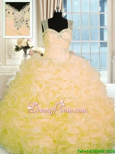 Sumptuous Organza Sweetheart Sleeveless Zipper Beading and Ruffles Sweet 16 Quinceanera Dress inGold