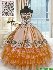 Simple Sleeveless Lace Up Floor Length Beading and Embroidery and Ruffled Layers Quince Ball Gowns