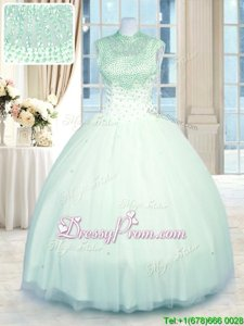 Sleeveless Tulle Floor Length Zipper Quinceanera Gowns inApple Green forSpring and Summer and Fall and Winter withBeading