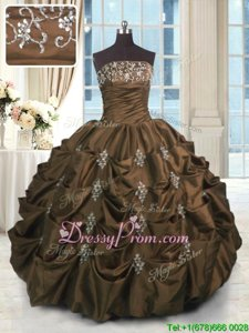 Suitable Sleeveless Floor Length Beading and Appliques and Embroidery and Pick Ups Lace Up Quince Ball Gowns with Chocolate