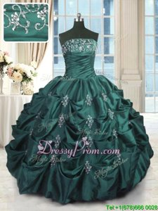 Traditional Floor Length Ball Gowns Sleeveless Peacock Green 15 Quinceanera Dress Lace Up
