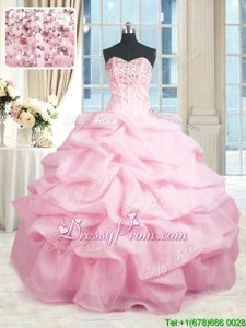 Glittering Sweetheart Sleeveless Organza Quinceanera Dresses Beading and Ruffles Lace Up