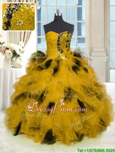 Hot Sale Floor Length Gold Sweet 16 Dresses Tulle Sleeveless Spring and Summer and Fall and Winter Beading and Ruffles