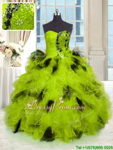 Excellent Strapless Sleeveless Tulle Quinceanera Dresses Beading and Ruffles Lace Up