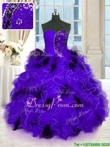 Delicate Beading and Ruffles Quinceanera Dress Black And Purple Lace Up Sleeveless Floor Length