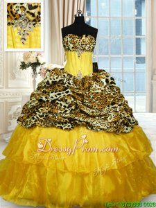 Luxurious Ball Gowns Sleeveless Gold Vestidos de Quinceanera Sweep Train Lace Up
