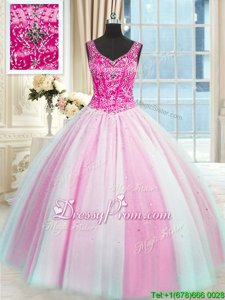 Edgy Ball Gowns Sweet 16 Dress Baby Pink and Pink And White V-neck Tulle Sleeveless Floor Length Lace Up