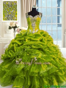 Olive Green Lace Up 15 Quinceanera Dress Beading Sleeveless Floor Length