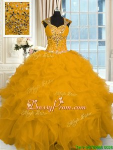Fashion Gold Ball Gowns Beading and Ruffles Sweet 16 Dress Lace Up Organza Cap Sleeves Floor Length