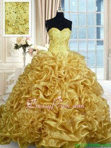 Superior Beading and Pick Ups 15 Quinceanera Dress Gold Lace Up Sleeveless With Train Sweep Train