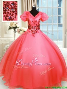 Luxury Short Sleeves Floor Length Appliques Lace Up Quinceanera Gowns with Coral Red