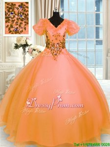 Decent Orange Short Sleeves Floor Length Appliques Lace Up Quinceanera Gown
